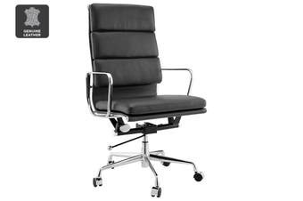 Matt Blatt Replica Eames Group Standard Aluminium Padded High Back Office Chair (Black Leather)