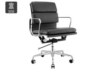 Matt Blatt Replica Eames Group Standard Aluminium Padded Low Back Office Chair (Black Leather)