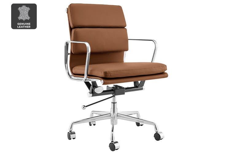 Matt Blatt Replica Eames Group Standard Aluminium Padded Low Back Office Chair (Tan Leather)