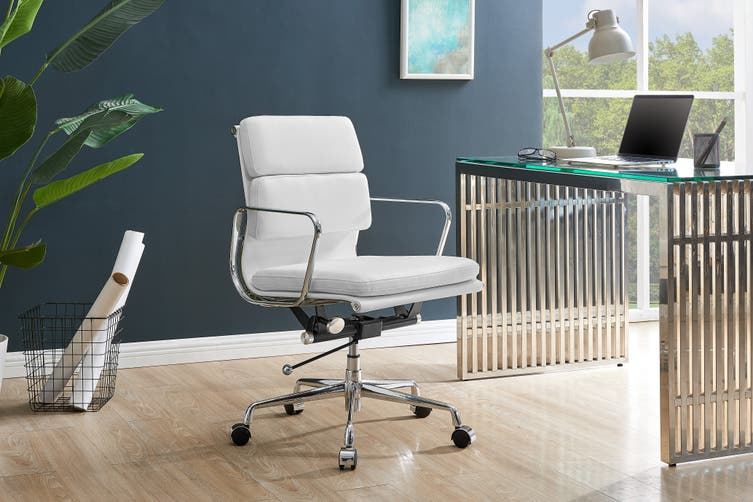 Matt Blatt Replica Eames Group Standard Aluminium Padded Low Back Office Chair (White Leather)