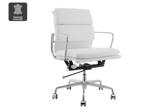 Matt Blatt Replica Eames Group Standard Aluminium Padded Low Back Office Chair (White Leather)