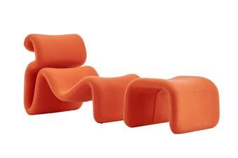 Matt Blatt Jan Ekselius Etcetera Lounge Chair and Ottoman Replica (Orange)