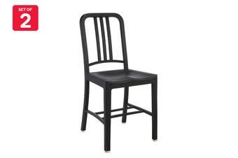 Matt Blatt Set of 2 Emeco US Navy Dining Chair (Black Plastic)