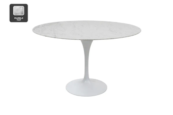 Matt Blatt Eero Saarinen Round Tulip Dining Table in Marble (120cm) - Replica