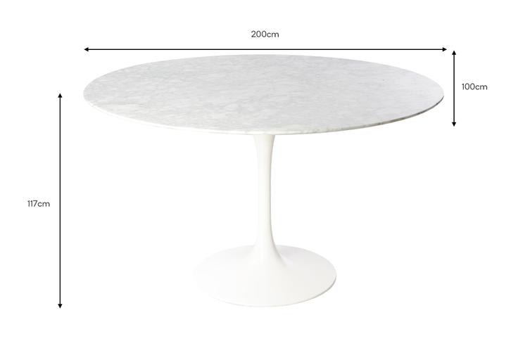 Matt Blatt Eero Saarinen Oval Tulip Dining Table in Marble (200cm) - Replica