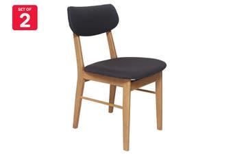Matt Blatt Set of 2 Fraser Chair (Oak, Charcoal Fabric)