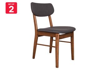Matt Blatt Set of 2 Fraser Chair (Walnut, Dark Grey Fabric)