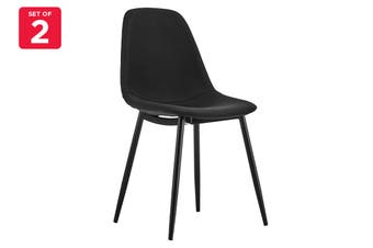 Matt Blatt Set of 2 Georgia Dining Chair (Black, Black Legs)