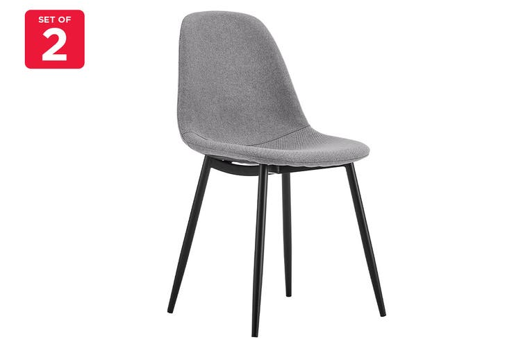 Matt Blatt Set of 2 Georgia Dining Chair (Light Grey, Black Legs)