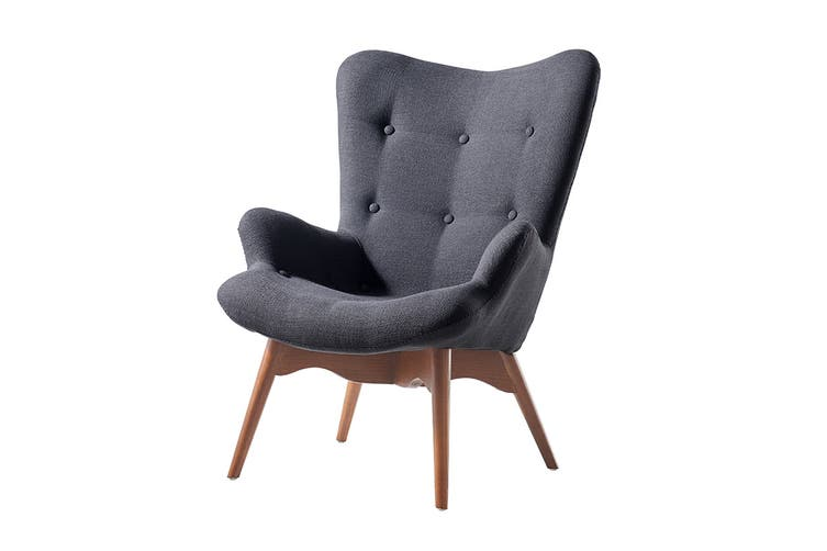 Matt Blatt Grant Featherston Velvet Contour Lounge Chair - Replica (Black, Walnut)