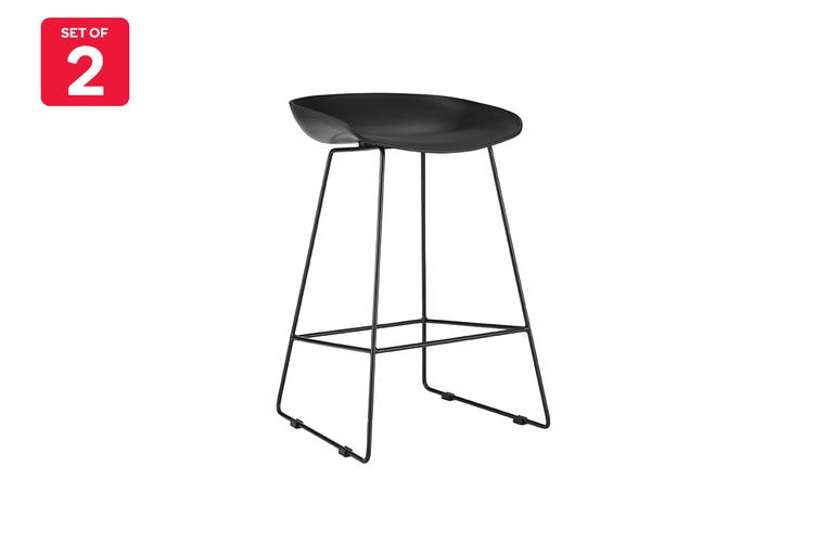 Matt Blatt Set of 2 Gregory Stool (Black Plastic Seat)