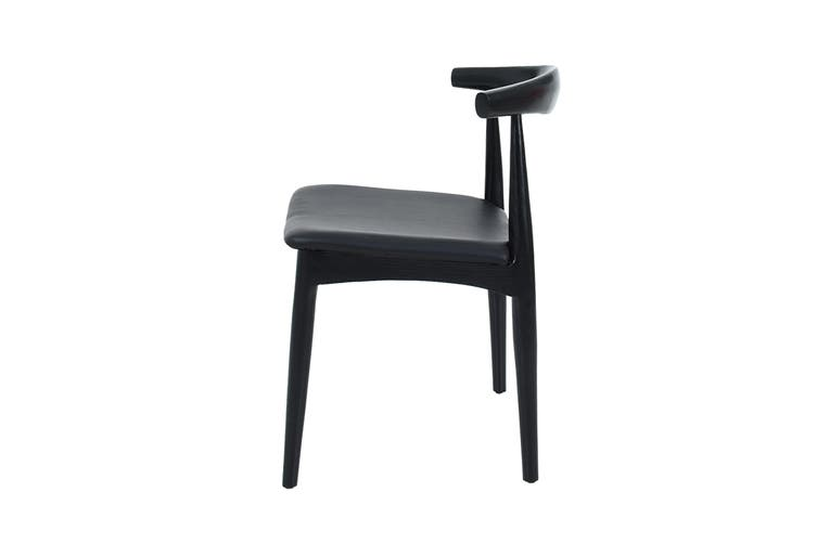 Matt Blatt Set of 2 Hans Wegner Leather Elbow Chair CH20 - Replica (Black, Black Leather)