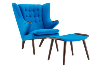 Matt Blatt Hans Wegner Papa Bear Chair and Ottoman Replica (Blue)