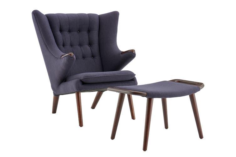 Matt Blatt Hans Wegner Papa Bear Chair and Ottoman Replica (Dark Grey)