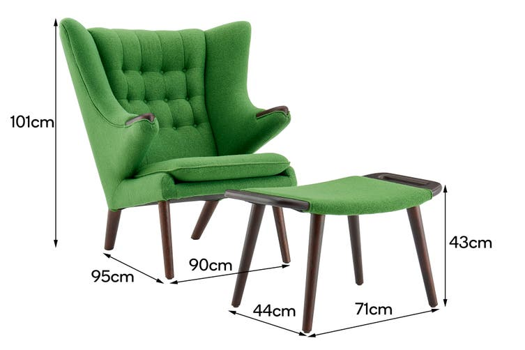 Matt Blatt Hans Wegner Papa Bear Chair and Ottoman Replica (Green)