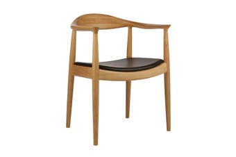 Matt Blatt Hans Wegner Round Chair - Replica (Ash, Black Leather)