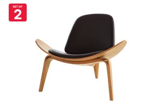 Matt Blatt Hans Wegner Shell Leather Chair - Replica