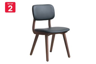 Matt Blatt Set of 2 Ivor Dining Chair (Walnut Frame, Black Leather)