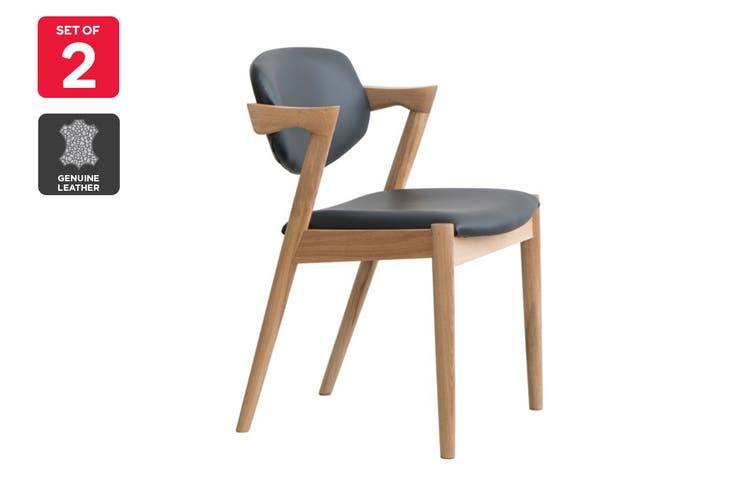 Matt Blatt Set of 2 Replica Kai Chair (Oak Frame, Black Leather)