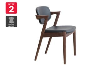 Matt Blatt Set of 2 Replica Kai Chair (Walnut Frame, Black Leather)