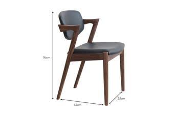Matt Blatt Set of 2 Replica Kai Chair (Walnut Frame, Black Leather)