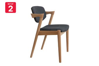 Matt Blatt Set of 2 Replica Kai Chair (Beech Frame, Charcoal Fabric)
