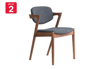 Matt Blatt Set of 2 Replica Kai Chair (Beech Stained Walnut Frame, Charcoal Fabric)