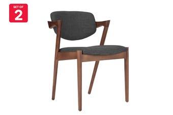 Matt Blatt Set of 2 Replica Kai Chair (Beech Stained Walnut Frame, Charcoal Fabric)