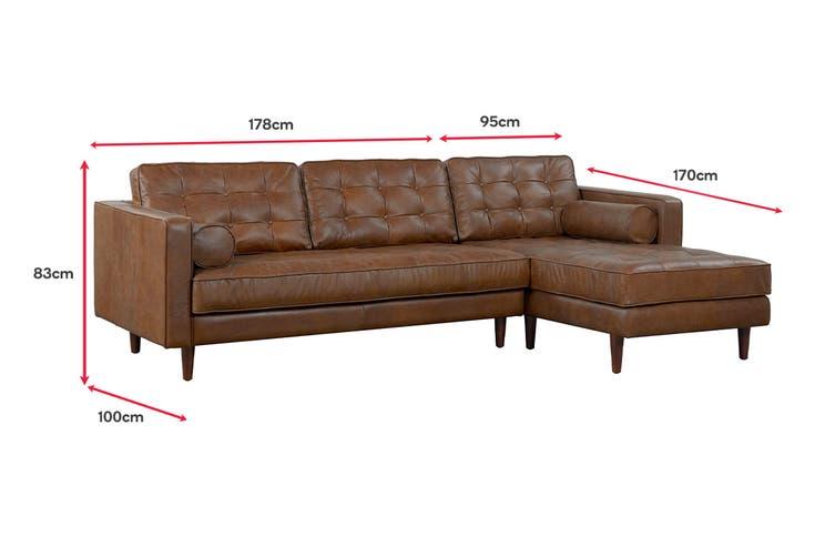 Matt Blatt Lexington 3 Seater Leather Sofa with Chaise (RHF) (Oxford Tan)