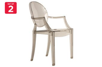 Matt Blatt Set of 2 Philippe Starck Louis Ghost Armchair Replica (Smoke)