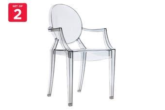 Matt Blatt Set of 2 Philippe Starck Louis Ghost Armchair Replica (Smoke)