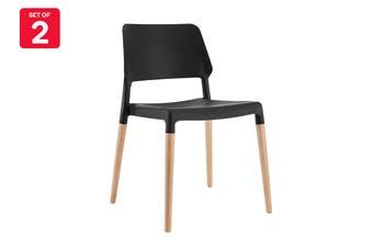 Matt Blatt Set of 2 Mack Dining Chair (Black/Beech)