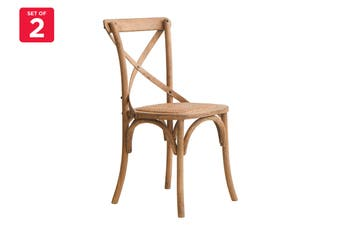 Matt Blatt Set of 2 Melrose Cross Back Chair (Oak, Natural)