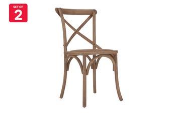 Matt Blatt Set of 2 Melrose Cross Back Chair (Oak, Natural)
