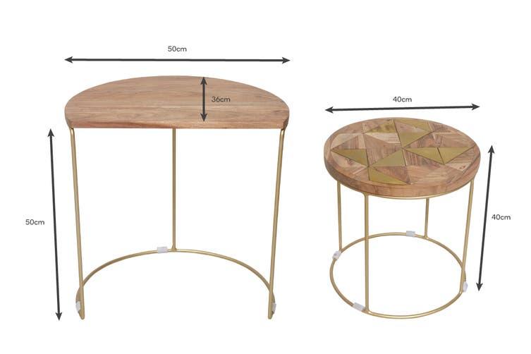 Matt Blatt Pablo Brass Inlay Nested Side Tables