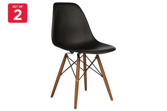 Matt Blatt Set of 2 Eames Premium DSW Chair Replica (Black Seat Walnut Legs)
