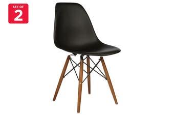 Matt Blatt Set of 2 Eames Premium DSW Chair Replica (Black Seat Walnut Legs)