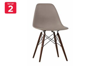 Matt Blatt Set of 2 Eames Premium DSW Chair Replica (Grey Seat Walnut Legs)