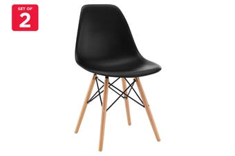 Matt Blatt Set of 2 Eames Premium DSW Chair Replica (Black Seat Beech Legs)