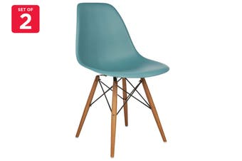 Matt Blatt Set of 2 Eames Premium DSW Chair Replica (Teal Seat Beech Legs)