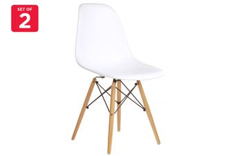 Matt Blatt Set of 2 Eames Premium DSW Chair Replica (White Seat Beech Legs)