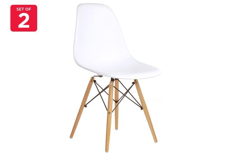 Matt Blatt Set of 2 Eames Premium DSW Chair Replica (White Seat Beech Legs)