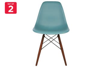 Matt Blatt Set of 2 Eames Premium DSW Chair Replica (Teal Seat Walnut Legs)