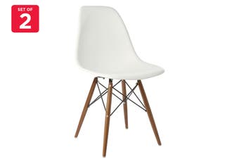 Matt Blatt Set of 2 Eames Premium DSW Chair Replica (White Seat Walnut Legs)