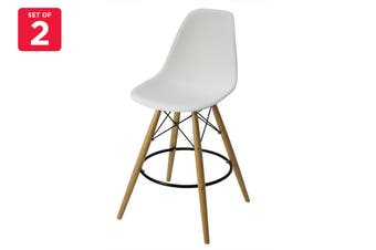 Matt Blatt Set of 2 Eames Premium DSW Stool Replica 65cm (White Seat)