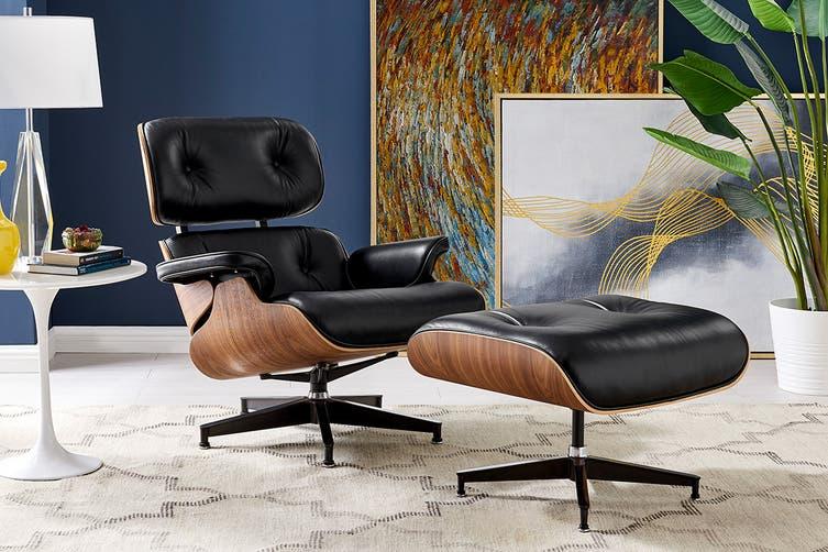 Matt Blatt Eames Lounge Chair and Ottoman Replica (Premium Black Leather)