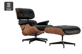 Matt Blatt Eames Lounge Chair and Ottoman Replica (Premium Black Leather)