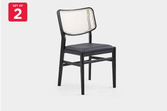 Matt Blatt Set of 2 Saigon Cane Dining Chair (Rattan Back Black Oak)