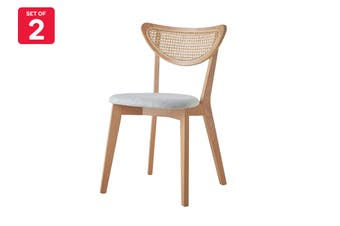 Matt Blatt Set of 2 Stanmore Rattan Dining Chairs (Light Grey, Natural)