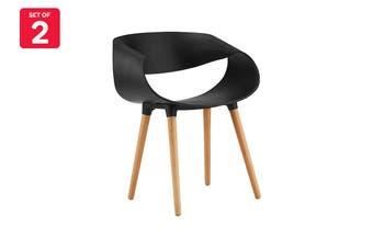 Matt Blatt Set of 2 Time Warp Dining Chair (Black Plastic)
